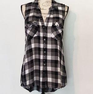 Rock & Republic sleeveless plaid blouse.